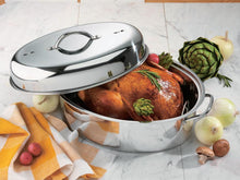 42 CM STAINLESS STEEL TURKEY ROASTER ROASTING PAN W/ STAINLESS STEEL RACK & COVER