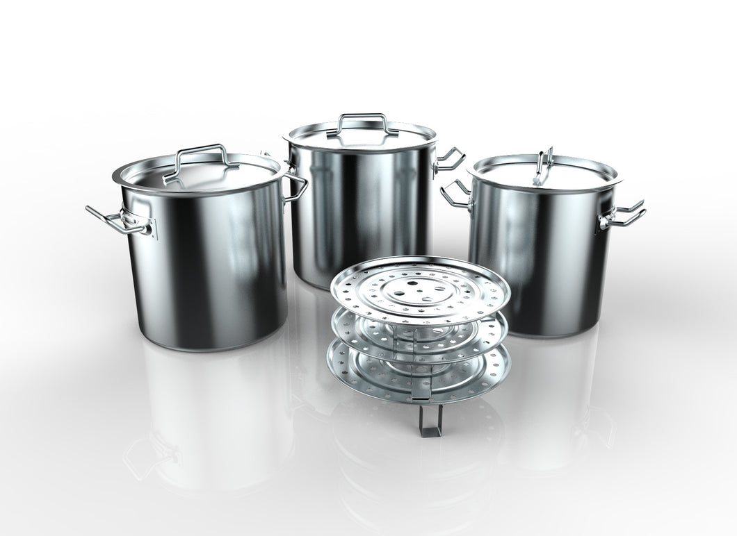 3 PC TAMALES STOCK POT STAINLESS STEEL W/ STEAMER
