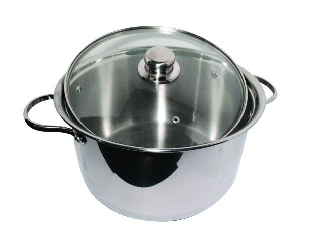 20 QT STOCK POT STAINLESS STEEL 18/10 INDUCTION GLASS COVER