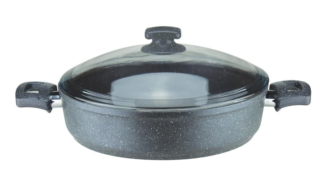 4.75 Quart (30cm) Granite Cast Aluminum Low-Shallow Pot