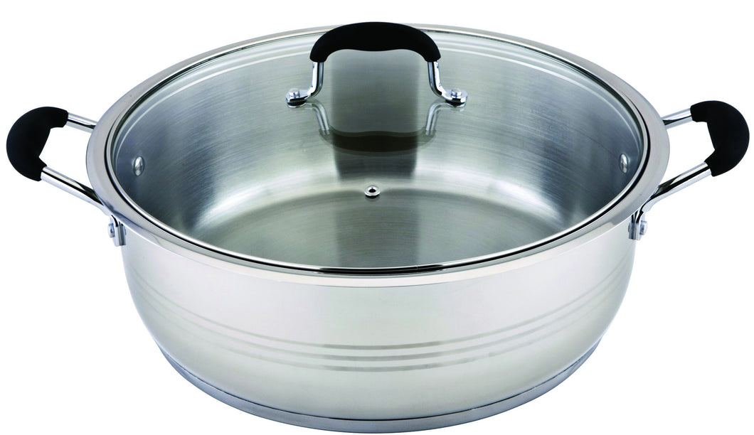 14 QT STAINLESS STEEL INDUCTION 18/10 LOW POT W/ SILICON HANDLE AND GLASS COVER