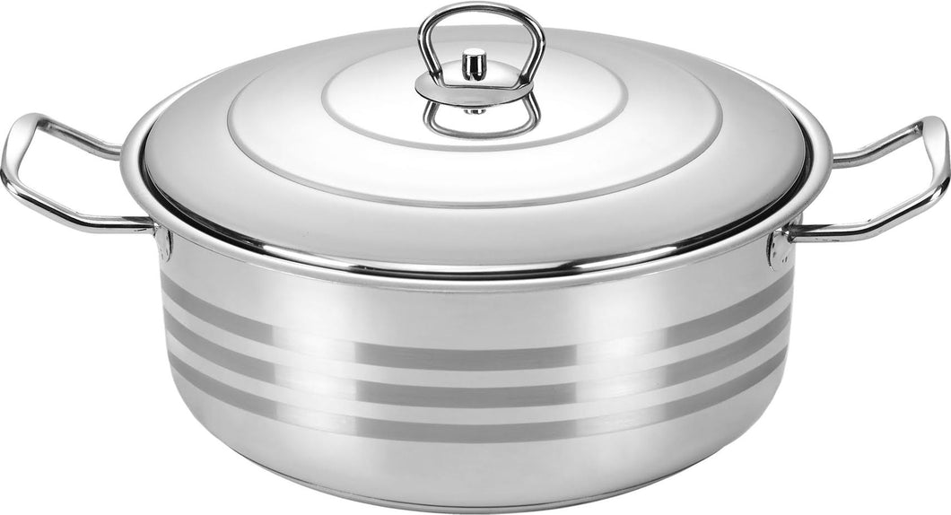 40 QT LOW POT STAINLESS STEEL LOW POT 18/10 INDUCTION W/ STAINLESS STEEL COVER