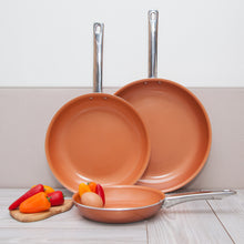 Copper Non Stick Fry pan Set of 3 with 8, 10 and 12 inch
