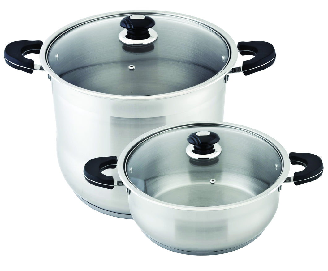 2 PC STOCK POT AND LOW POT STAINLESS STEEL INDUCTION 18/10