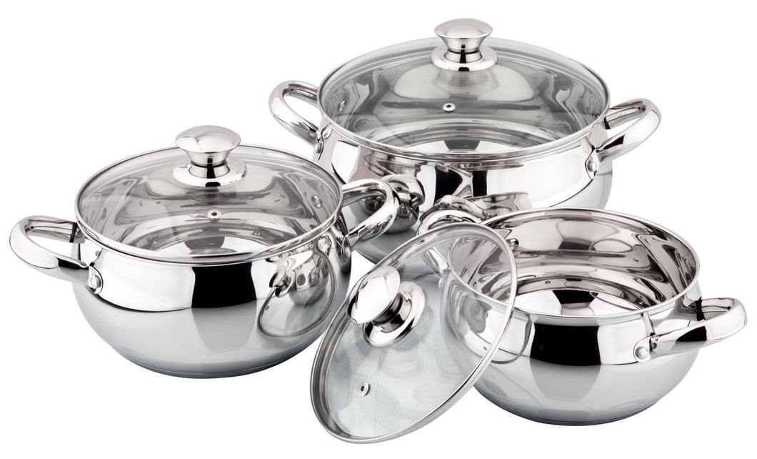 6 PIECE STAINLESS STEEL 18/10 INDUCTION POT