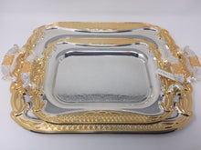 2 PC SERVING TRAY GOLD AND SILVER