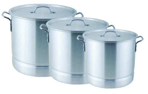 3 PC TAMALES ALUMINUM STOCK POT W/ STEAMER 60, 80 & 100 QT DISH WASHER SAFE NEW