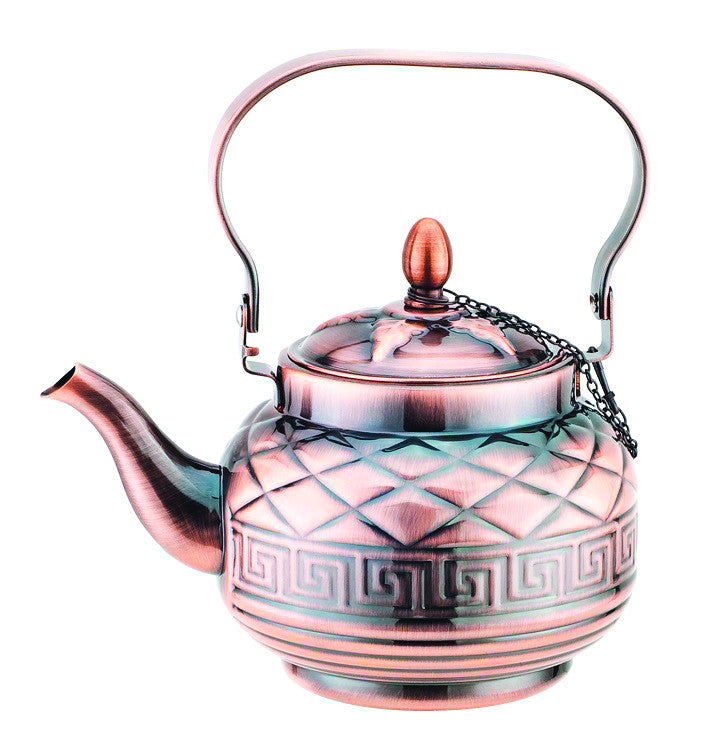 1.2 LIT STAINLESS STEEL W COPPER FINISHING TEA KETTLE W/ KEY VERSA DESIGN