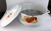 50 CM STOCK POT W/ STEAMER ENAMEL DISH WASHER SAFE NEW