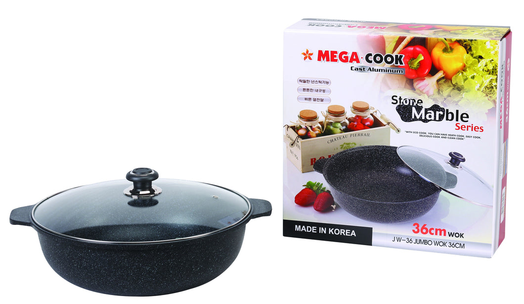 36 CM MARBLE STONE COATING JUMBO WOK PAN COOKING