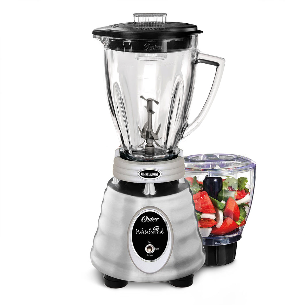 Oster Whirlwind Heritage Blend 1000 Plus 2 Speed Blender in Chrome with Food Processor and 6 Cup Glass Blender Jar