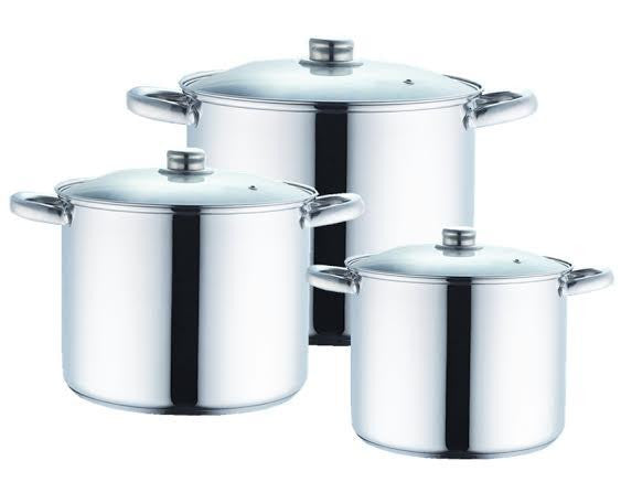 6 PC STOCK POT SET STAINLESS STEEL 12, 16 & 20 QT GLASS COVER