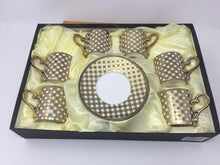 Classic Coffee & Tea & Espresso Cups & Saucers (Set of 6 ) Porcelain In Stylish, GOLD and white  & Handles for an Authentic, Turkish, Italian Café Feel