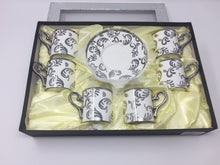 Classic Coffee & Tea & Espresso Cups & Saucers (Set of 6 ) Porcelain In Stylish, silver and white  & Handles for an Authentic, Turkish, Italian Café Feel