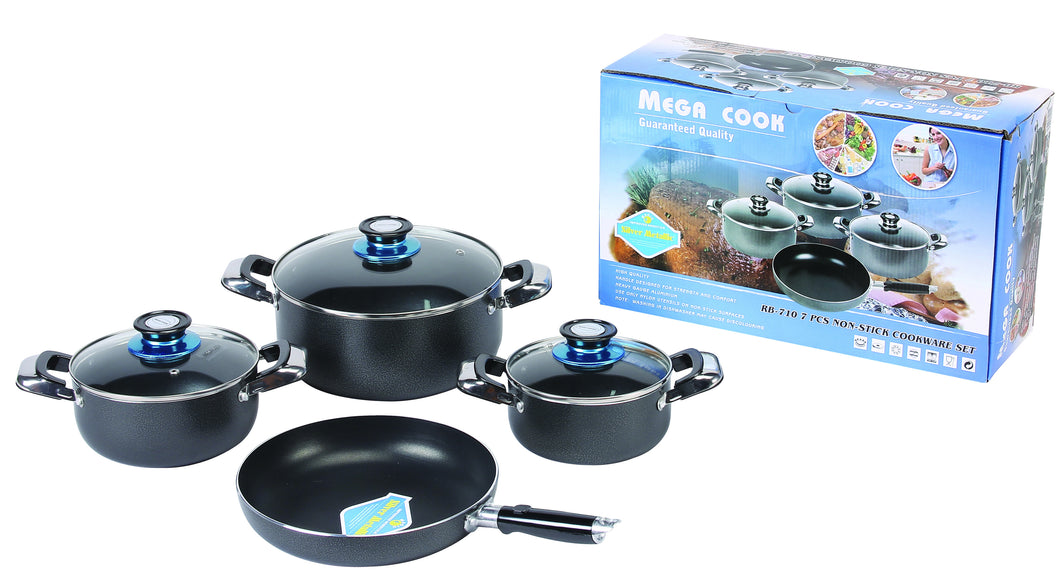 7 PC HEALTHY NON STICK COOK WARE SET W/ GLASS COVER