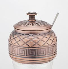 SUGAR POT COPPER WITH SPOON