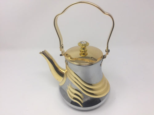 TEA KETTLE 1.1 LT STAINLESS STEEL WITH COVER AND GOLD DESIGN