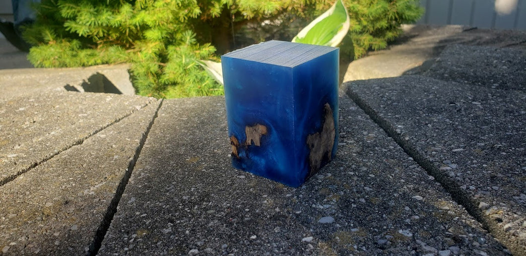 Solid Blue 3 Resin Block