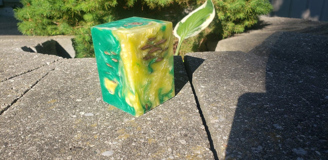 Green and Yellow Pinecone Resin Block