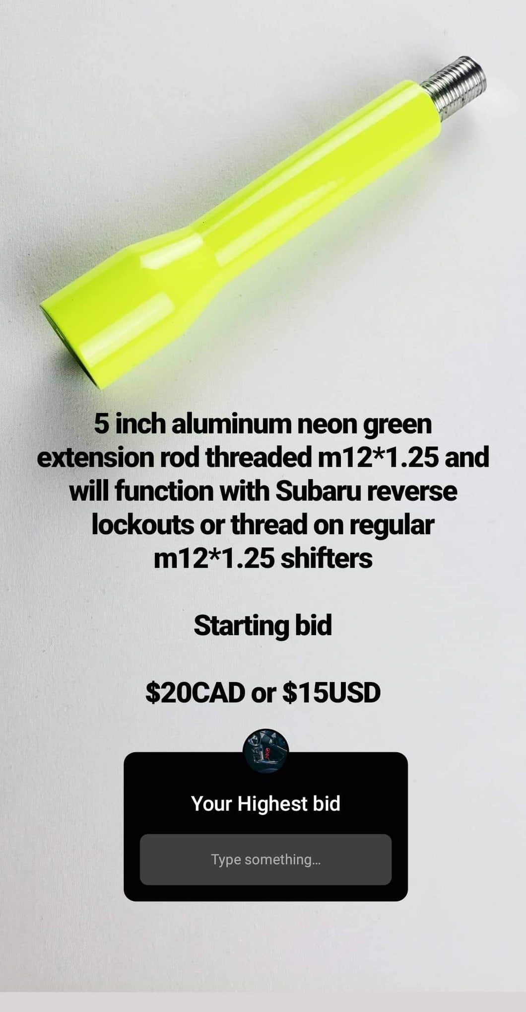 Neon green 5 inch extension