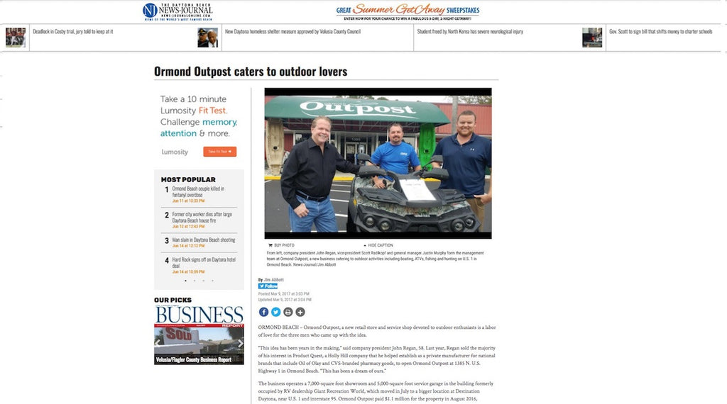 Ormond Outpost - News Journal online Article