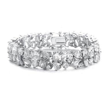 Bedazzling Wedding Bracelet in Multi Shaped CZ