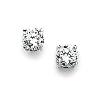 10mm round cubic zirconia stud earrings