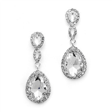 Crystal Teardrop Earrings with Braided Top
