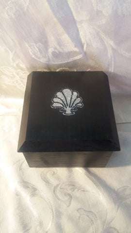 Fine Wood Jewelry or Keepsake Box - Elegant Black Painted Wood with Detailing
