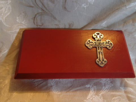 Fine Wood Jewelry or Keepsake Box - Lovely Red Painted Wood with Silver Cross