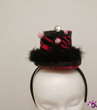 Handmade Mini Hat-Dark pink zebra stripes