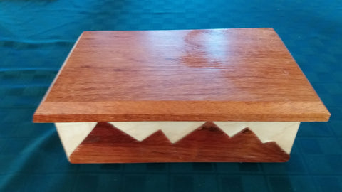 Fine Wood Jewelry or Keepsake Box with Mountains - Padauk & Maple Woods