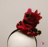 Handmade Mini Hat -Black Autumn Styled with Leaves