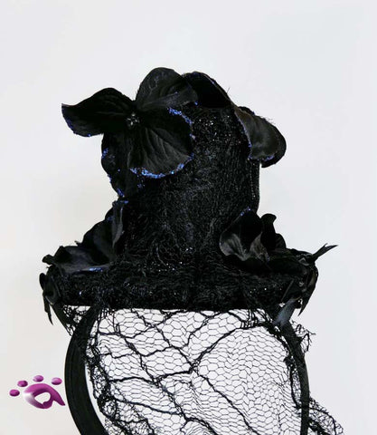 Handmade Mini Hat-Black Hat with Long Lace Veil that and Flowers
