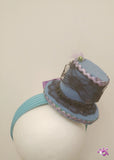 Handmade Mini Hat-Blue with black lace