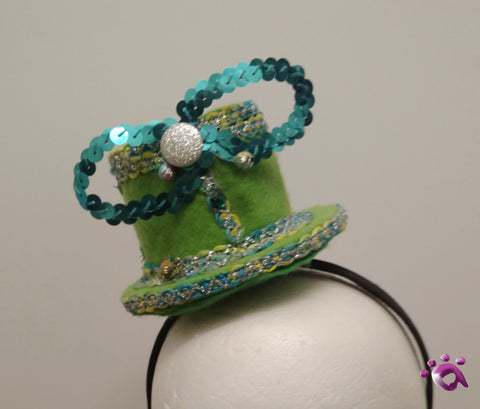 Handmade Mini Hat-Green with sequin bow