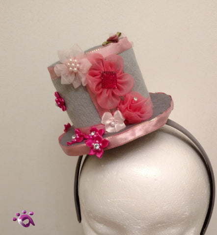 Handmade Mini Hat-Grey and pink