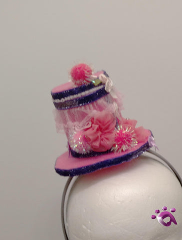 Handmade Mini Hat-Pink with pink trim and purple ribbon