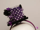 Handmade Mini Hat-Purple flower hat with hearts