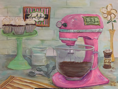 Sugar Me Sweet Pink Mixer Painting Commissioned