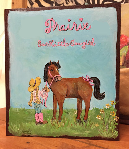 Little Prairie Girl Baby Memory Book is a cowgirl themed keepsake book designed by Carolyn Altman.