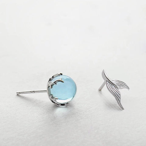 Mermaid Bubble Studs Earrings s925 Silver Blue Crystal Seaweed Cushion fishtail Earring.