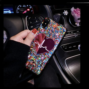Glitter  Big Heart phone Case For iPhone & Samsung