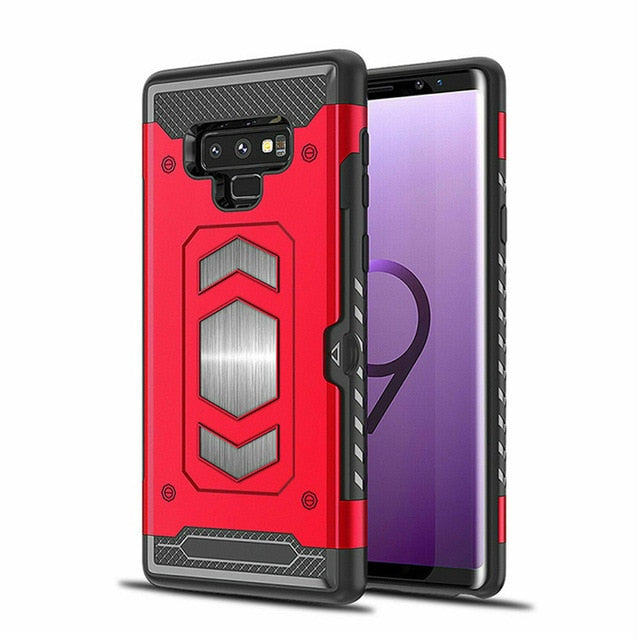 Magnetic Armor Phone Case For Samsung Galaxy Note 10 Plus 8 9 S8 S9 S10E S10  Card Slot Hard Cover