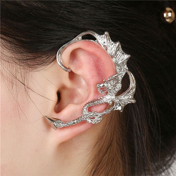 Aros metal earrings for women Rock Punk Dragon stud earrings