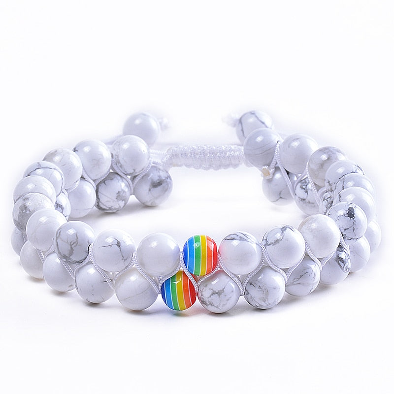 LGBT PRIDE RAINBOW BRACELETS JEWELRY FOR COUPLES.