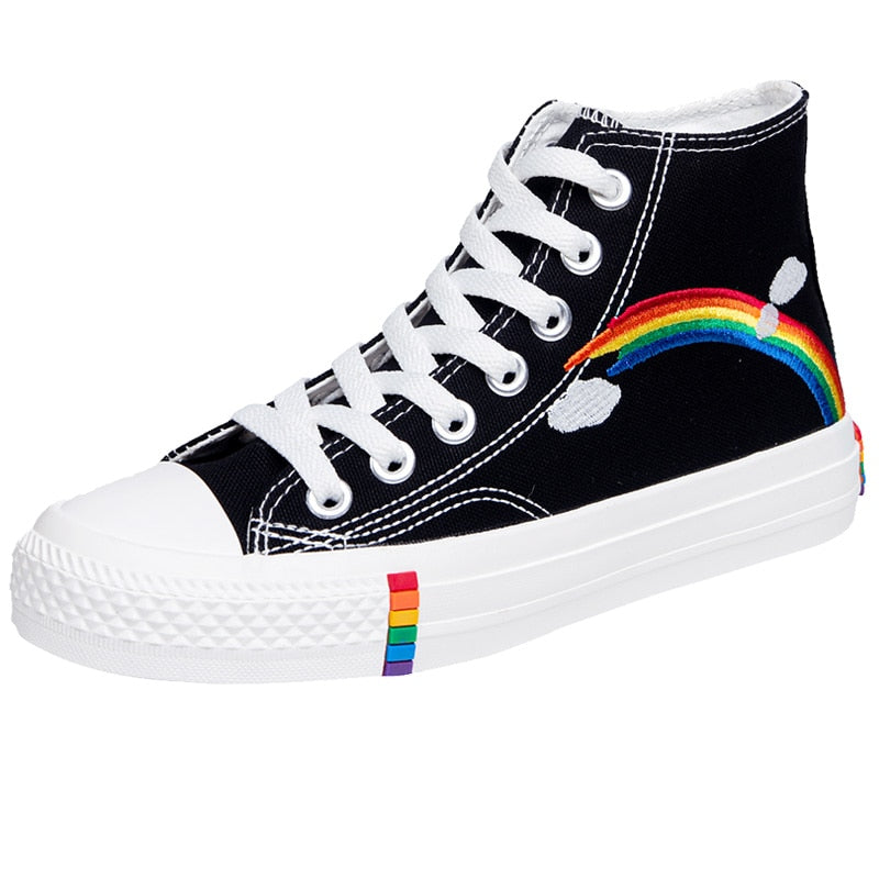New Rainbow Retro Canvas Shoes Flat Fashion Comfortable High Shoes Women
