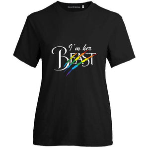Sweet I'M Her Beast & I'M Her Beauty Letter Print O Neck Short Sleeve Lgbt T Shirt Gay Pride T-Shirt Lesbian Couple T Shirt