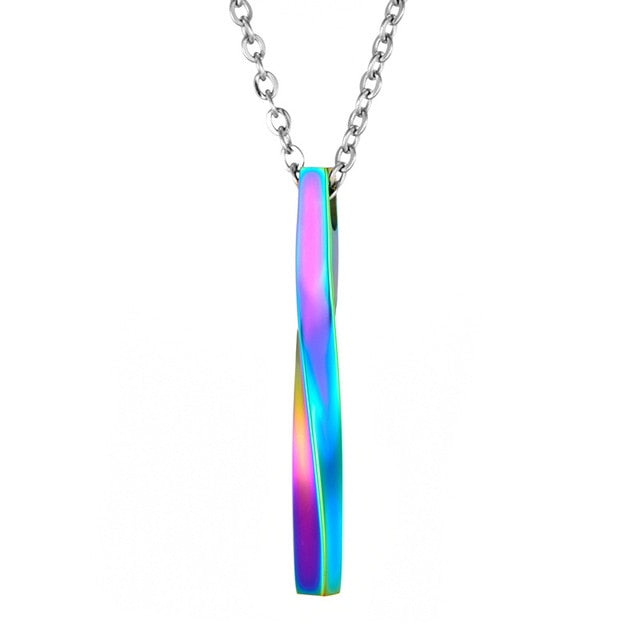 NEW SQUARE TWISTED COLUMN PENDANT NECKLACE FOR MEN & WOMEN.