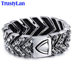 Mens Bracelets Punk Skull Bracelet Men Biker Motorcycle Jewelry Chain Link Stainless Steel Bracelet